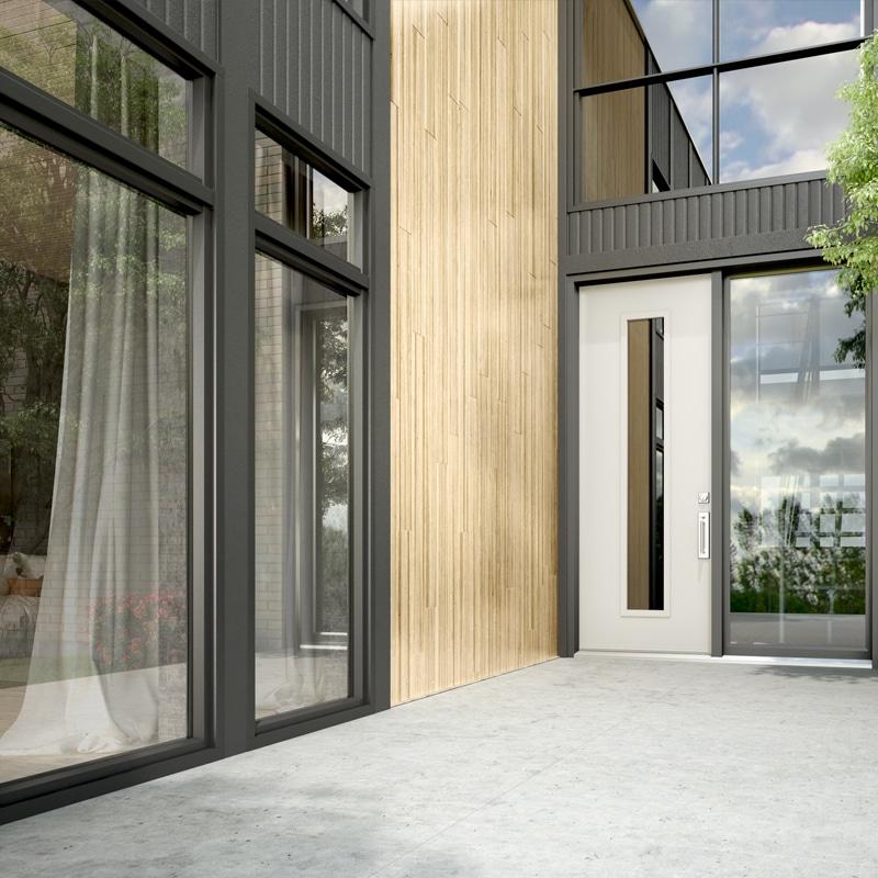 porte patio avec store intégré